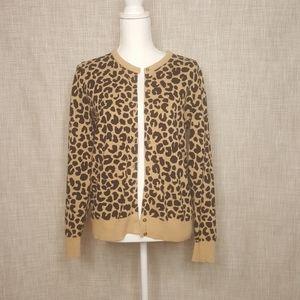 Knit Leopard Print Cardigan, EUC